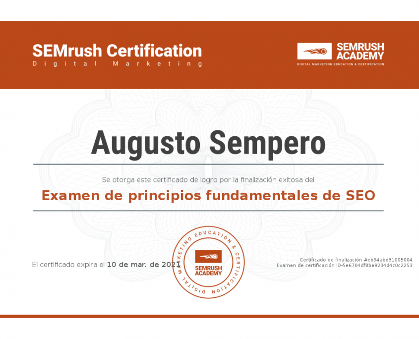 SEM RUSH CERTIFICATION PANAMA