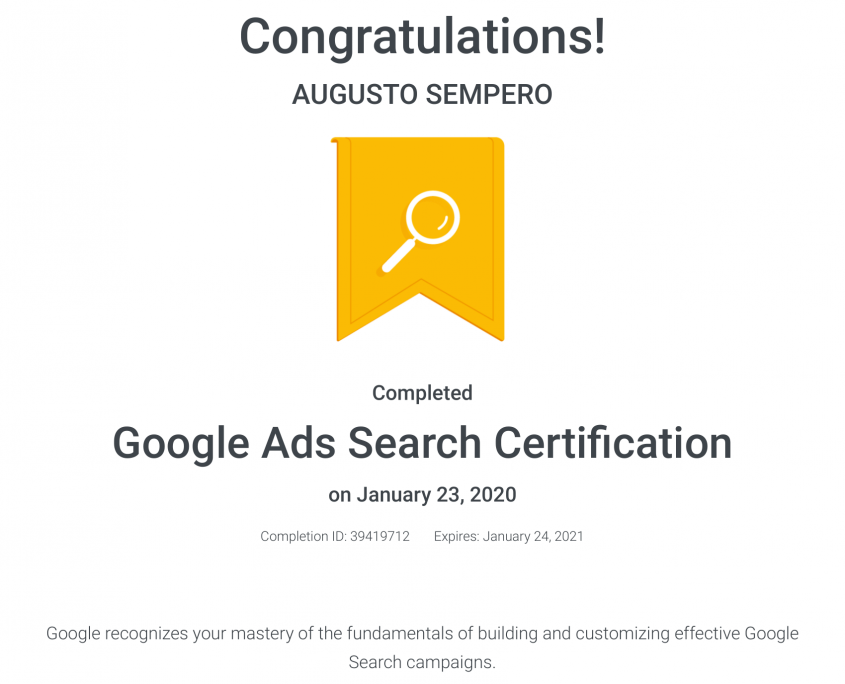 Google Ads Search Certification Panama