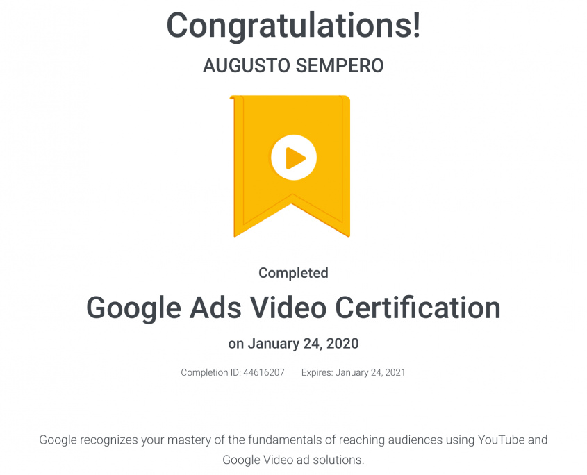 Google Ads Video Certification Panama