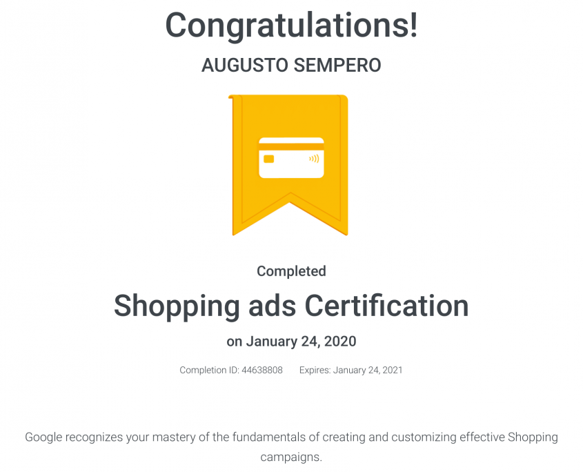 Shopping ads Certification Panama