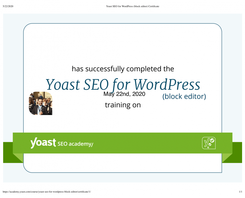 Yoast SEO for WordPress (block editor) Certificate-1